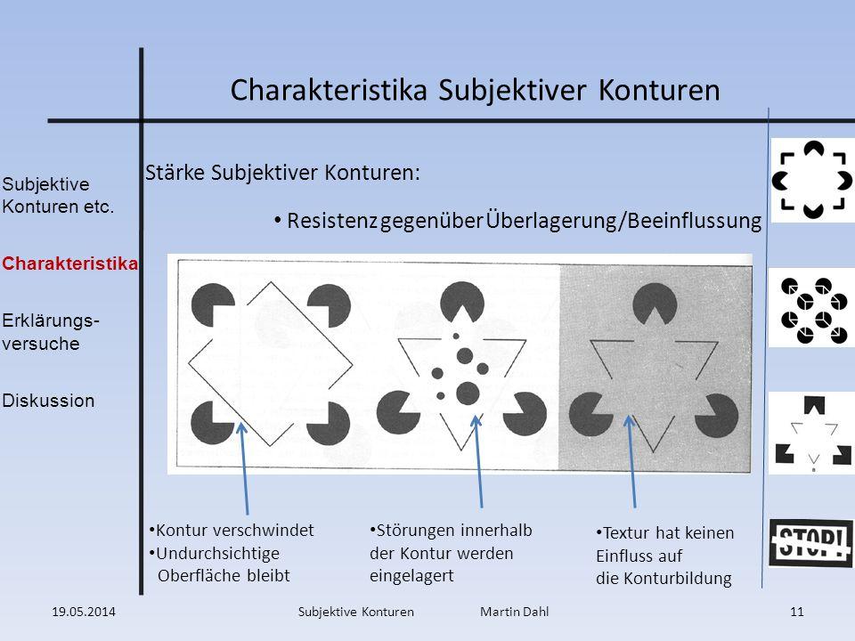 Subjektive Konturen etc. Charakteristika Erklärungs- versuche Diskussion Charakteristika Subjektiver Konturen Stärke Subjektiver Konturen: Resistenz g