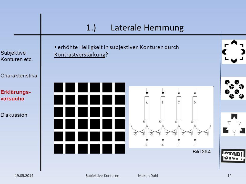 Subjektive Konturen etc. Charakteristika Erklärungs- versuche Diskussion 1.)Laterale Hemmung erhöhte Helligkeit in subjektiven Konturen durch Kontrast