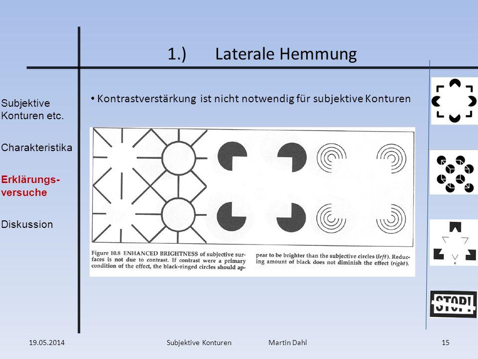 Subjektive Konturen etc. Charakteristika Erklärungs- versuche Diskussion 1.)Laterale Hemmung Kontrastverstärkung ist nicht notwendig für subjektive Ko