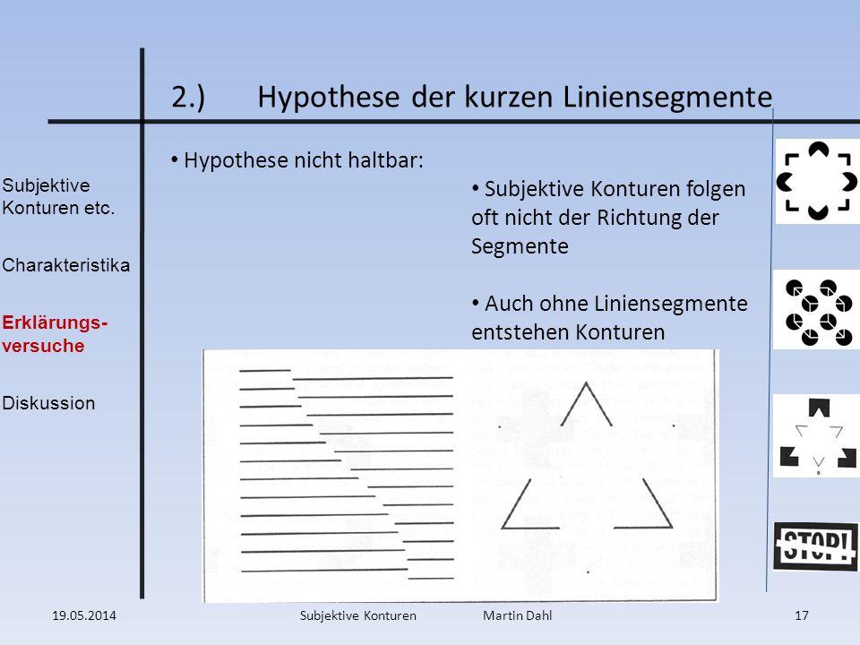 Subjektive Konturen etc. Charakteristika Erklärungs- versuche Diskussion 2.)Hypothese der kurzen Liniensegmente Hypothese nicht haltbar: Subjektive Ko