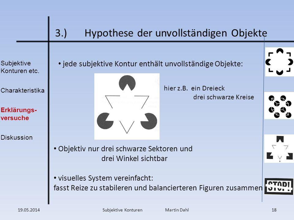 Subjektive Konturen etc. Charakteristika Erklärungs- versuche Diskussion 3.)Hypothese der unvollständigen Objekte jede subjektive Kontur enthält unvol