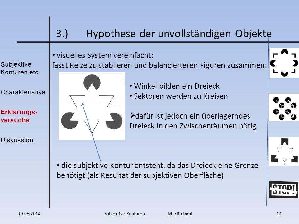 Subjektive Konturen etc. Charakteristika Erklärungs- versuche Diskussion 3.)Hypothese der unvollständigen Objekte visuelles System vereinfacht: fasst