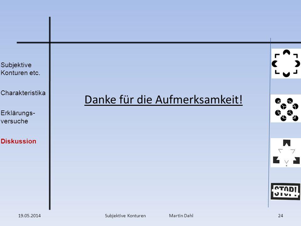 Subjektive Konturen etc. Charakteristika Erklärungs- versuche Diskussion 19.05.201424Subjektive Konturen Martin Dahl Danke für die Aufmerksamkeit!