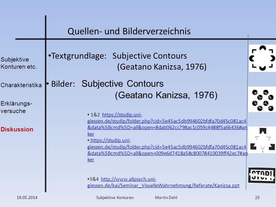 Subjektive Konturen etc. Charakteristika Erklärungs- versuche Diskussion 19.05.201425Subjektive Konturen Martin Dahl Textgrundlage: Subjective Contour