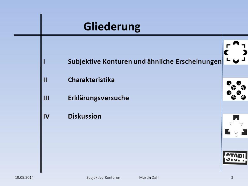 ISubjektive Konturen und ähnliche Erscheinungen IICharakteristika IIIErklärungsversuche IVDiskussion Gliederung 19.05.20143Subjektive Konturen Martin