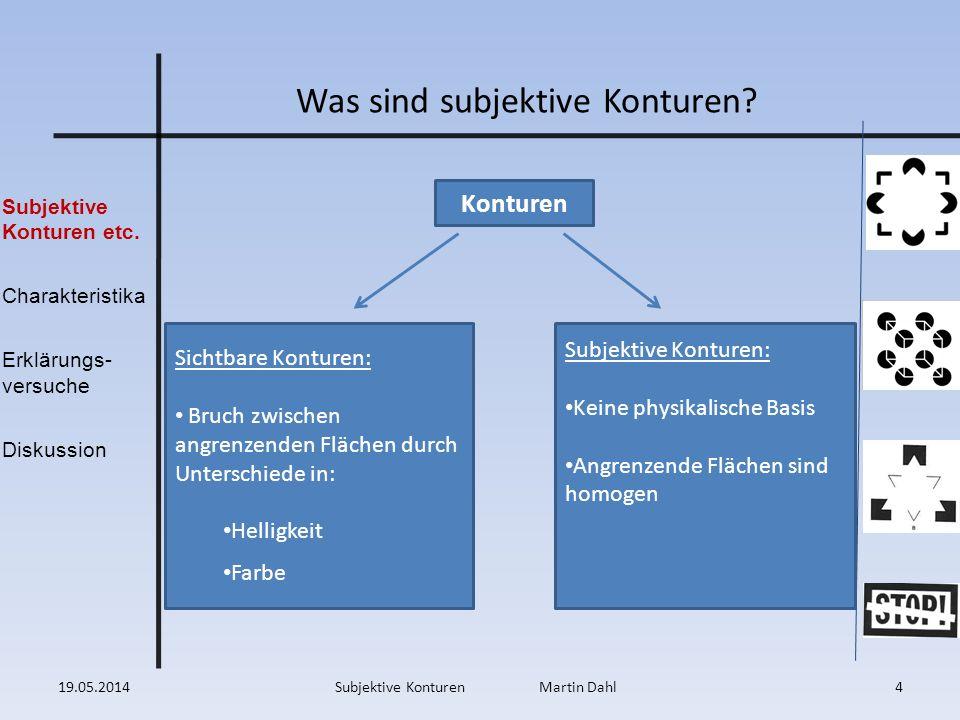 Subjektive Konturen etc. Charakteristika Erklärungs- versuche Diskussion Was sind subjektive Konturen? Subjektive Konturen: Keine physikalische Basis