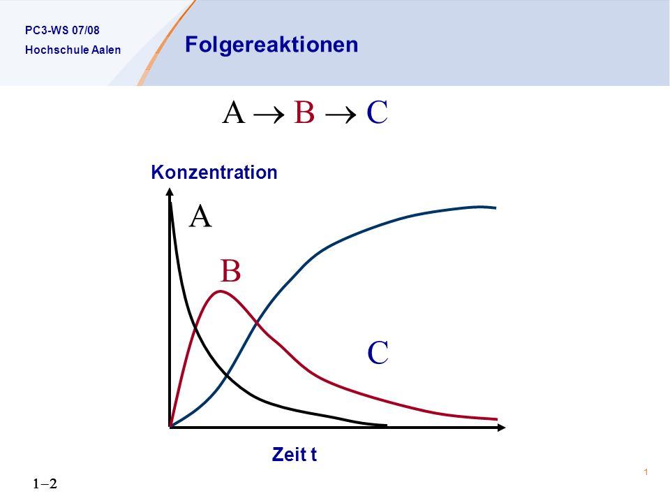 PC3-WS 07/08 Hochschule Aalen 1 Folgereaktionen A B C A B C Konzentration Zeit t