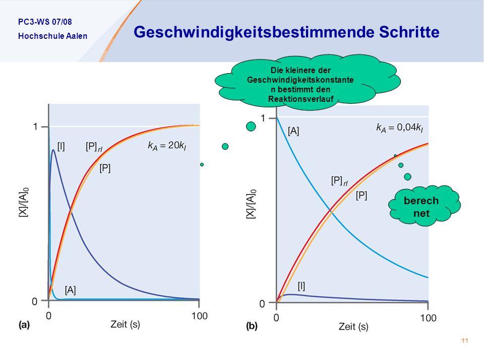 PC3-WS 07/08 Hochschule Aalen 11 Geschwindigkeitsbestimmende Schritte Die kleinere der Geschwindigkeitskonstante n bestimmt den Reaktionsverlauf berech net