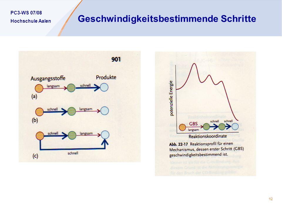 PC3-WS 07/08 Hochschule Aalen 12 Geschwindigkeitsbestimmende Schritte