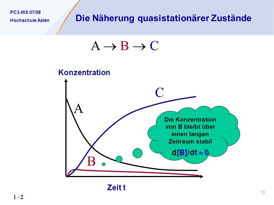 PC3-WS 07/08 Hochschule Aalen 13 Die Näherung quasistationärer Zustände Konzentration Zeit t A B C A B C Die Konzentration von B bleibt über einen langen Zeitraum stabil d[B]/dt 0