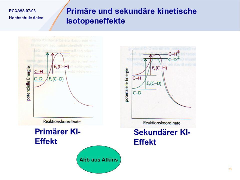 PC3-WS 07/08 Hochschule Aalen 19 Primäre und sekundäre kinetische Isotopeneffekte Primärer KI- Effekt Sekundärer KI- Effekt Abb aus Atkins