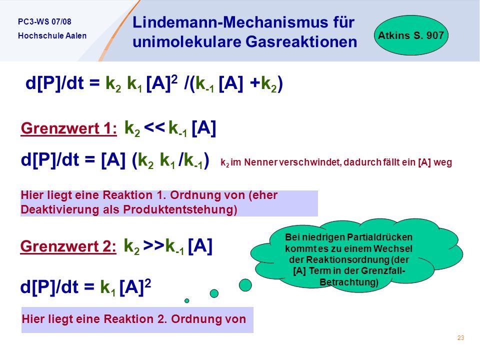 PC3-WS 07/08 Hochschule Aalen 23 Lindemann-Mechanismus für unimolekulare Gasreaktionen Atkins S. 907 Hier liegt eine Reaktion 1. Ordnung von (eher Dea