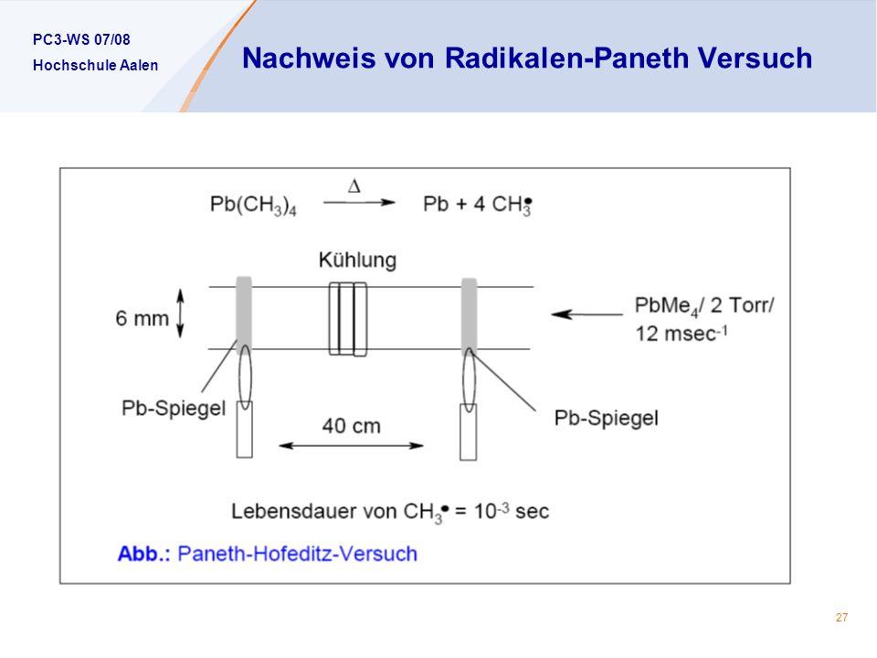 PC3-WS 07/08 Hochschule Aalen 27 Nachweis von Radikalen-Paneth Versuch