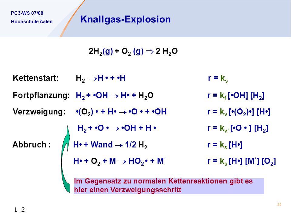 PC3-WS 07/08 Hochschule Aalen 29 Knallgas-Explosion 2H 2 (g) + O 2 (g) 2 H 2 O Kettenstart: H 2 H + H r = k s Fortpflanzung: H 2 + OH H + H 2 O r = k f [OH] [H 2 ] Verzweigung: (O 2 ) + H O + OH r = k v [(O 2 )] [H] H 2 + O OH + H r = k v [O ] [H 2 ] Abbruch : H + Wand 1/2 H 2 r = k s [H] H + O 2 + M HO 2 + M * r = k s [H] [M * ] [O 2 ] Im Gegensatz zu normalen Kettenreaktionen gibt es hier einen Verzweigungsschritt