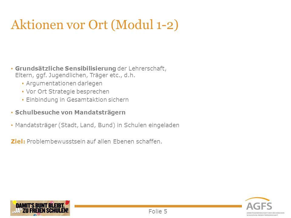 Folie 5 Aktionen vor Ort (Modul 1-2) Grundsätzliche Sensibilisierung der Lehrerschaft, Eltern, ggf.