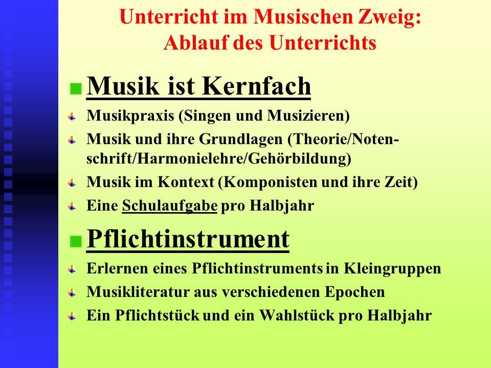 Unterricht im Musischen Zweig: Ablauf des Unterrichts Musik ist Kernfach Musikpraxis (Singen und Musizieren) Musik und ihre Grundlagen (Theorie/Noten-