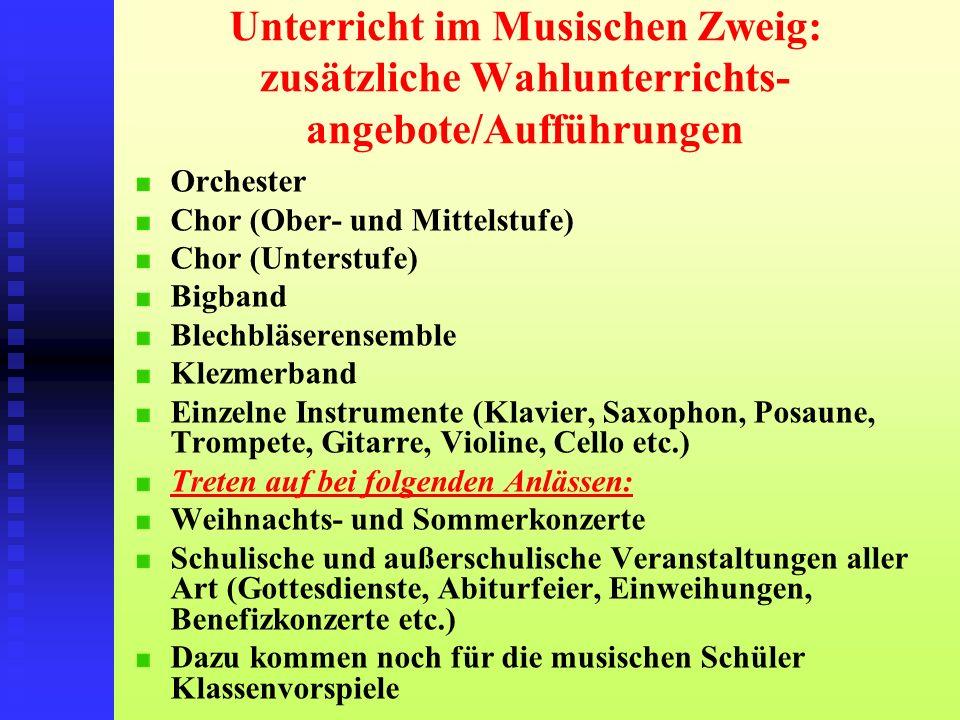 Unterricht im Musischen Zweig: zusätzliche Wahlunterrichts- angebote/Aufführungen Orchester Chor (Ober- und Mittelstufe) Chor (Unterstufe) Bigband Ble