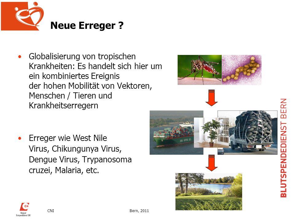 CNIBern, 2011 Neue Erreger ? Globalisierung von tropischen Krankheiten: Es handelt sich hier um ein kombiniertes Ereignis der hohen Mobilität von Vekt