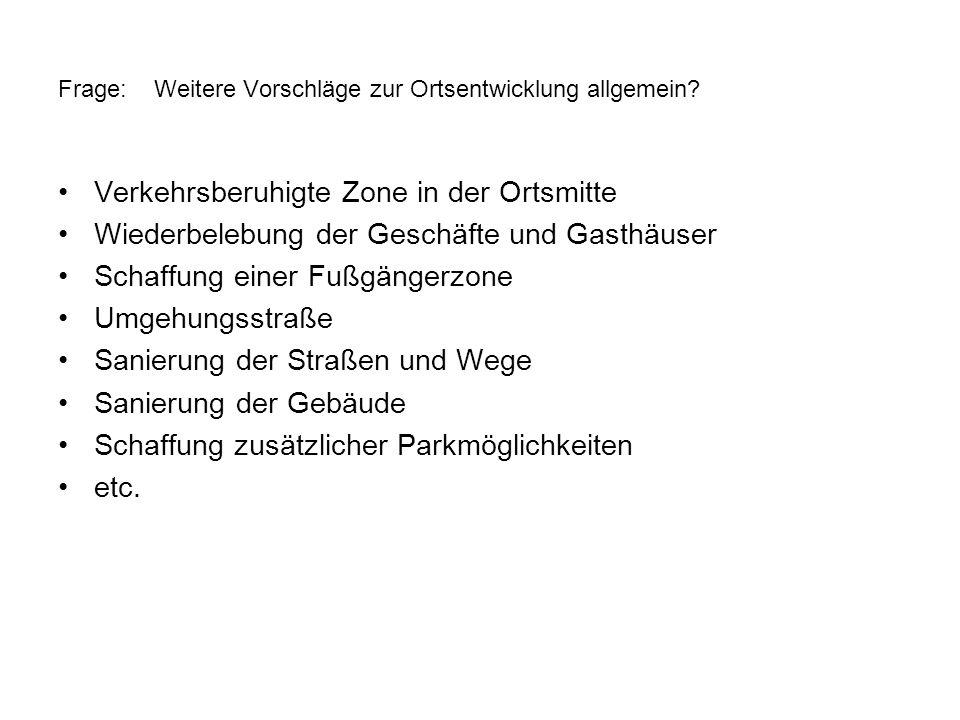 Frage: Weitere Vorschläge zur Ortsentwicklung allgemein? Verkehrsberuhigte Zone in der Ortsmitte Wiederbelebung der Geschäfte und Gasthäuser Schaffung