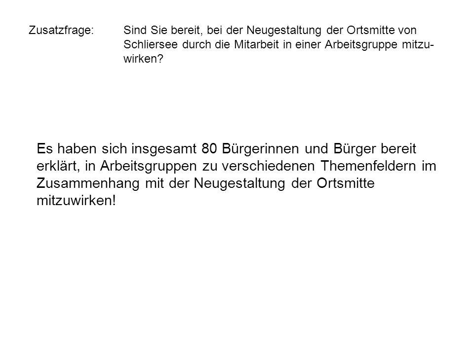 Zusatzfrage: Sind Sie bereit, bei der Neugestaltung der Ortsmitte von Schliersee durch die Mitarbeit in einer Arbeitsgruppe mitzu- wirken? Es haben si