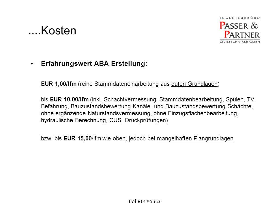 Folie von 2614 Erfahrungswert ABA Erstellung: EUR 1,00/lfm (reine Stammdateneinarbeitung aus guten Grundlagen) bis EUR 10,00/lfm (inkl. Schachtvermess