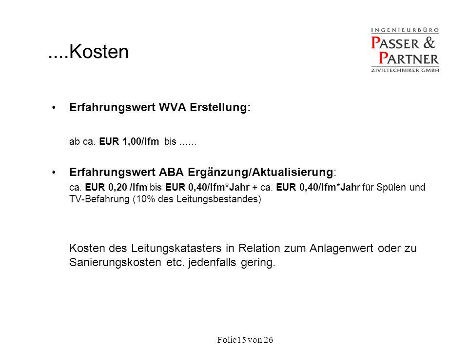 Folie von 2615 Erfahrungswert WVA Erstellung: ab ca. EUR 1,00/lfm bis...... Erfahrungswert ABA Ergänzung/Aktualisierung: ca. EUR 0,20 /lfm bis EUR 0,4