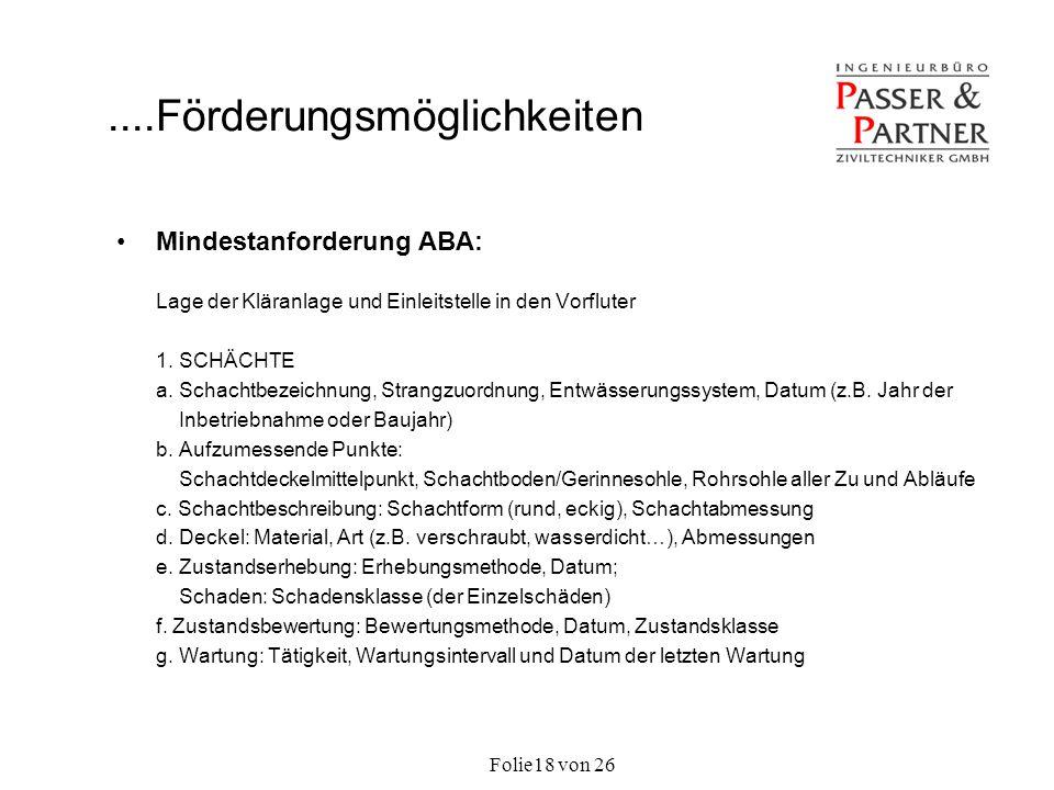 Folie von 2618 Mindestanforderung ABA: Lage der Kläranlage und Einleitstelle in den Vorfluter 1. SCHÄCHTE a. Schachtbezeichnung, Strangzuordnung, Entw