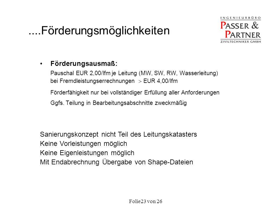 Folie von 2623 Förderungsausmaß: Pauschal EUR 2,00/lfm je Leitung (MW, SW, RW, Wasserleitung) bei Fremdleistungserrechnungen EUR 4,00/lfm Förderfähigk