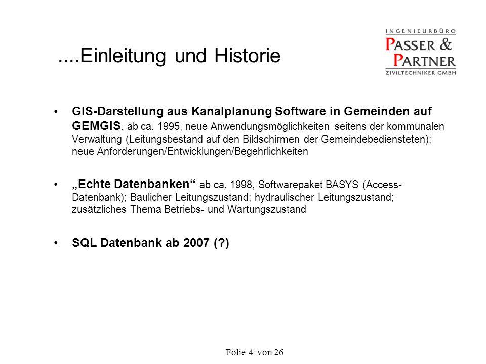 Folie von 264 GIS-Darstellung aus Kanalplanung Software in Gemeinden auf GEMGIS, ab ca. 1995, neue Anwendungsmöglichkeiten seitens der kommunalen Verw