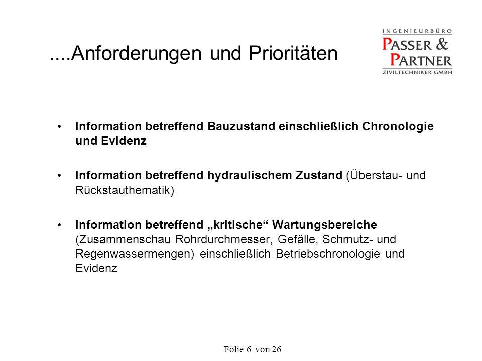 Folie von 266 Information betreffend Bauzustand einschließlich Chronologie und Evidenz Information betreffend hydraulischem Zustand (Überstau- und Rüc