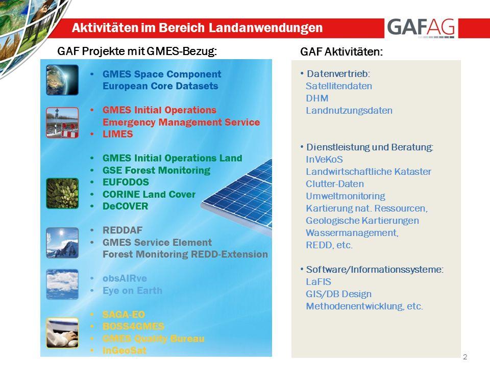 2 Aktivitäten im Bereich Landanwendungen GAF Projekte mit GMES-Bezug: GAF Aktivitäten: Datenvertrieb: Satellitendaten DHM Landnutzungsdaten Dienstleis