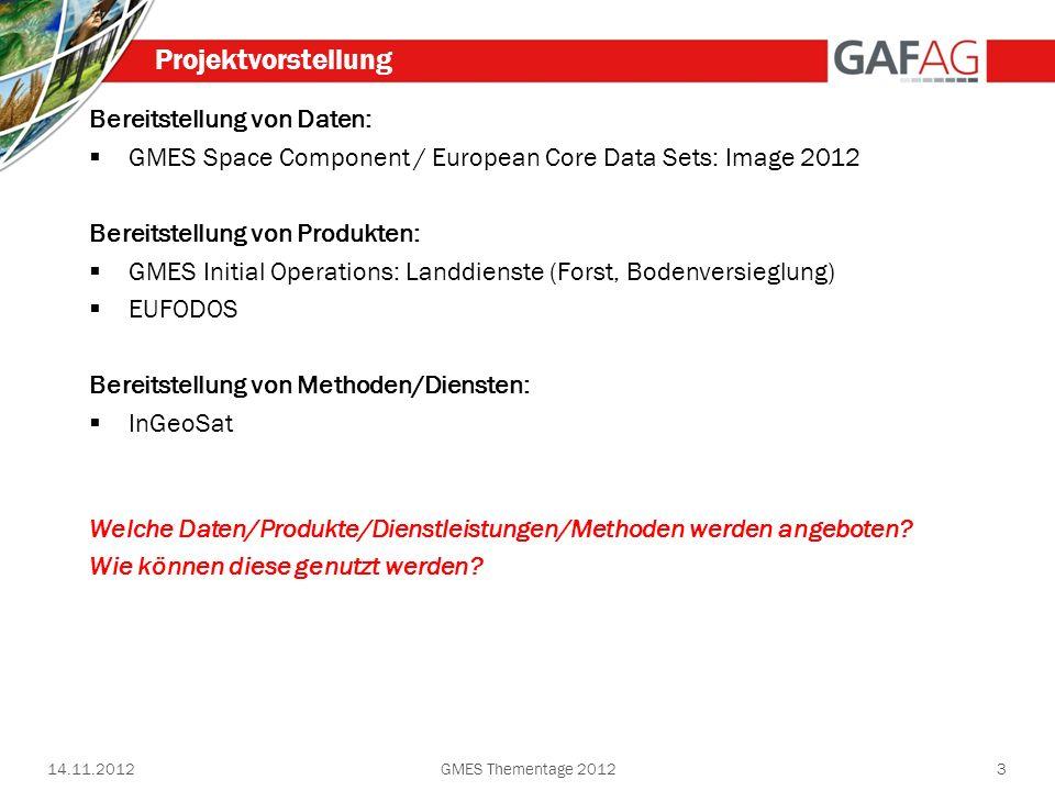 Bereitstellung von Daten: GMES Space Component / European Core Data Sets: Image 2012 Bereitstellung von Produkten: GMES Initial Operations: Landdienst