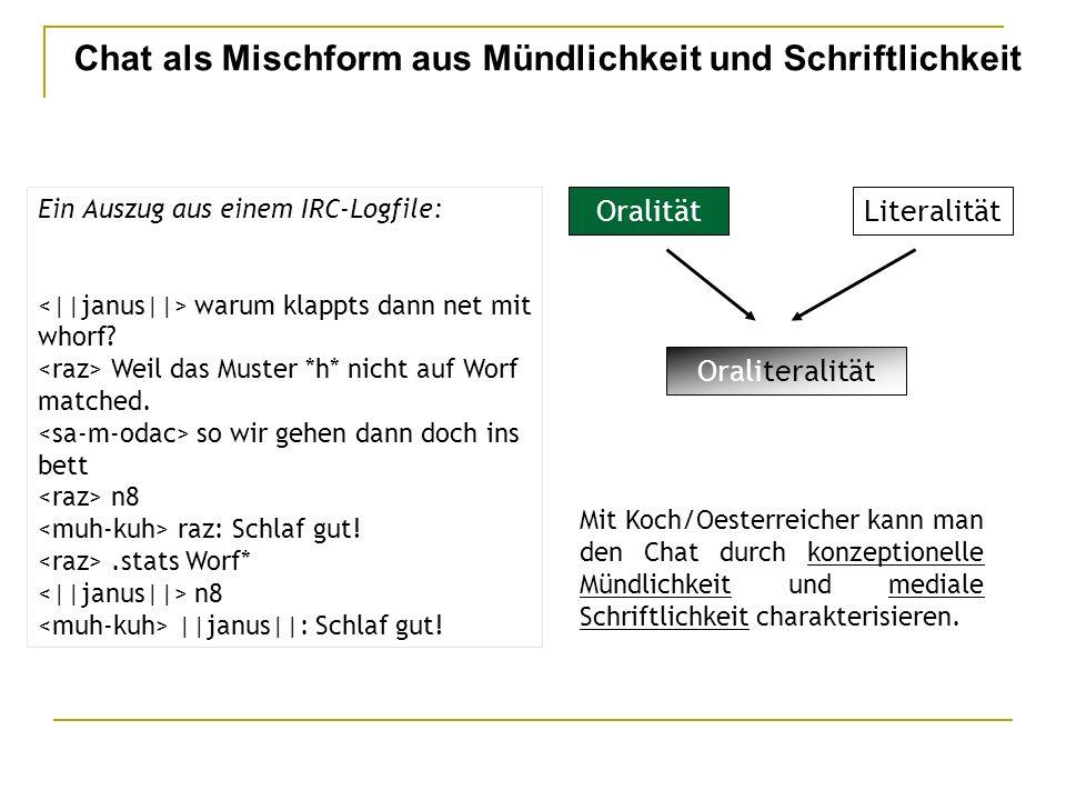 Chat als Mischform aus Mündlichkeit und Schriftlichkeit Mit Koch/Oesterreicher kann man den Chat durch konzeptionelle Mündlichkeit und mediale Schriftlichkeit charakterisieren.
