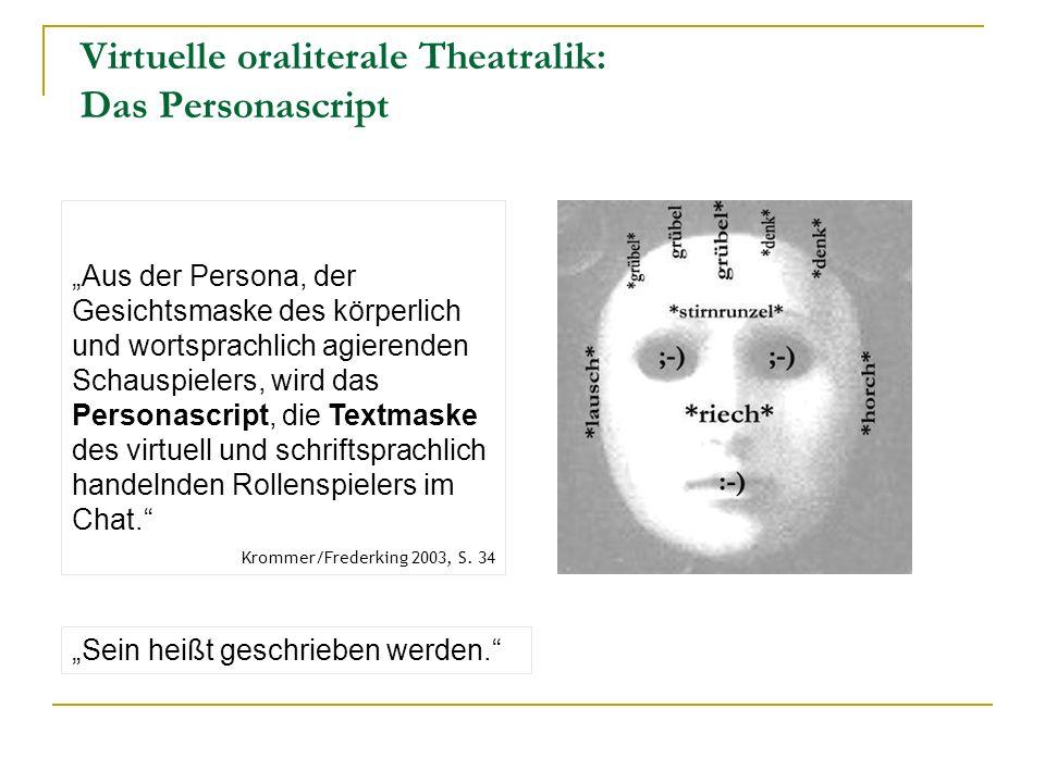 Virtuelle oraliterale Theatralik: Das Personascript Aus der Persona, der Gesichtsmaske des körperlich und wortsprachlich agierenden Schauspielers, wird das Personascript, die Textmaske des virtuell und schriftsprachlich handelnden Rollenspielers im Chat.