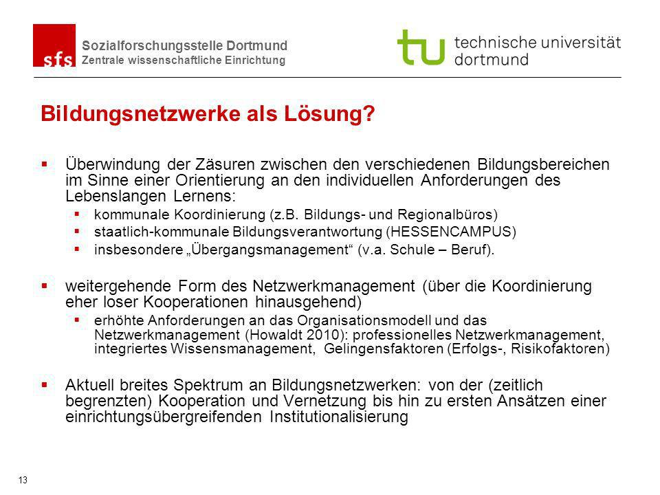 Sozialforschungsstelle Dortmund Zentrale wissenschaftliche Einrichtung 13 Bildungsnetzwerke als Lösung? Überwindung der Zäsuren zwischen den verschied