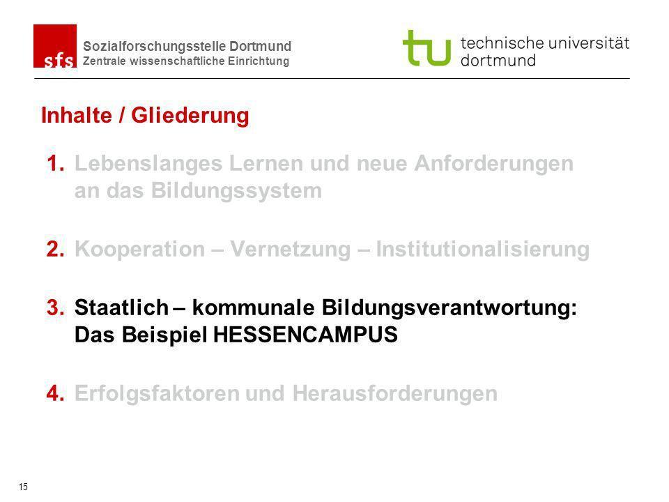 Sozialforschungsstelle Dortmund Zentrale wissenschaftliche Einrichtung 15 Inhalte / Gliederung 1.Lebenslanges Lernen und neue Anforderungen an das Bil