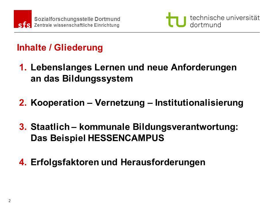 Sozialforschungsstelle Dortmund Zentrale wissenschaftliche Einrichtung 2 Inhalte / Gliederung 1.Lebenslanges Lernen und neue Anforderungen an das Bild