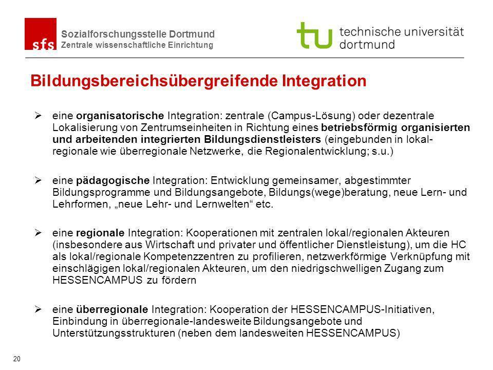 Sozialforschungsstelle Dortmund Zentrale wissenschaftliche Einrichtung 20 Bildungsbereichsübergreifende Integration eine organisatorische Integration: