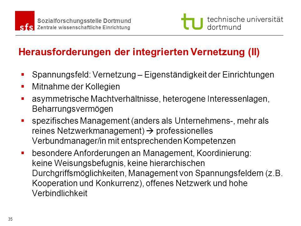 Sozialforschungsstelle Dortmund Zentrale wissenschaftliche Einrichtung 35 Herausforderungen der integrierten Vernetzung (II) Spannungsfeld: Vernetzung