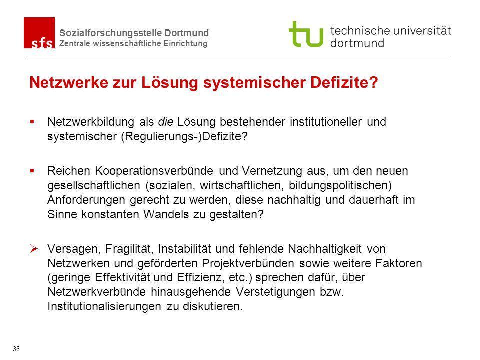 Sozialforschungsstelle Dortmund Zentrale wissenschaftliche Einrichtung 36 Netzwerke zur Lösung systemischer Defizite? Netzwerkbildung als die Lösung b