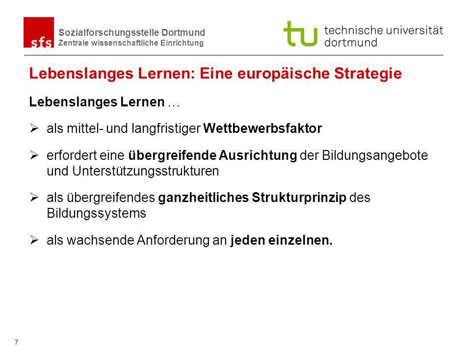 Sozialforschungsstelle Dortmund Zentrale wissenschaftliche Einrichtung 7 Lebenslanges Lernen: Eine europäische Strategie Lebenslanges Lernen … als mit