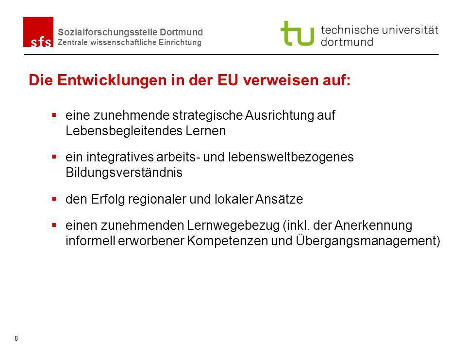 Sozialforschungsstelle Dortmund Zentrale wissenschaftliche Einrichtung 8 eine zunehmende strategische Ausrichtung auf Lebensbegleitendes Lernen ein in