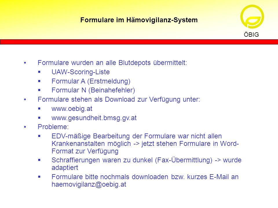 Formulare im Hämovigilanz-System ÖBIG Formulare wurden an alle Blutdepots übermittelt: UAW-Scoring-Liste Formular A (Erstmeldung) Formular N (Beinahef
