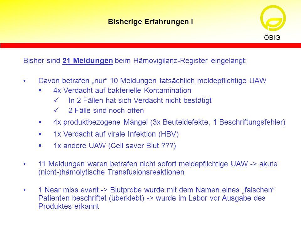 Bisherige Erfahrungen I ÖBIG Bisher sind 21 Meldungen beim Hämovigilanz-Register eingelangt: Davon betrafen nur 10 Meldungen tatsächlich meldepflichti
