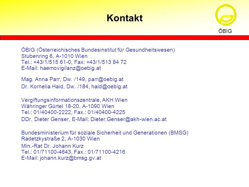 ÖBIG (Österreichisches Bundesinstitut für Gesundheitswesen) Stubenring 6, A-1010 Wien Tel.: +43/1/515 61-0, Fax: +43/1/513 84 72 E-Mail: haemovigilanz