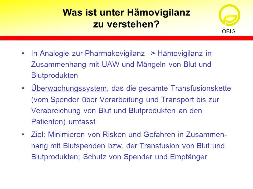 In Analogie zur Pharmakovigilanz -> Hämovigilanz in Zusammenhang mit UAW und Mängeln von Blut und Blutprodukten Überwachungssystem, das die gesamte Tr