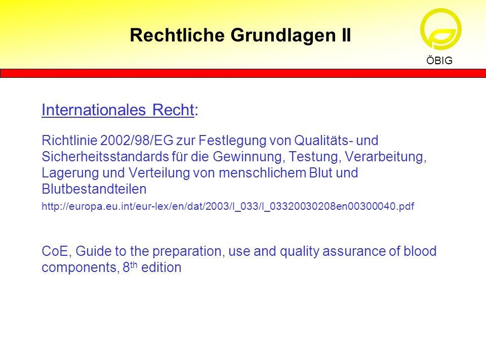 Internationales Recht: Richtlinie 2002/98/EG zur Festlegung von Qualitäts- und Sicherheitsstandards für die Gewinnung, Testung, Verarbeitung, Lagerung