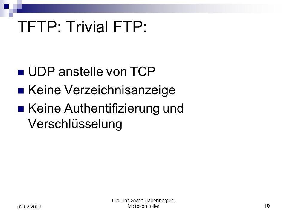 Dipl.-Inf. Swen Habenberger - Microkontroller10 02.02.2009 TFTP: Trivial FTP: UDP anstelle von TCP Keine Verzeichnisanzeige Keine Authentifizierung un