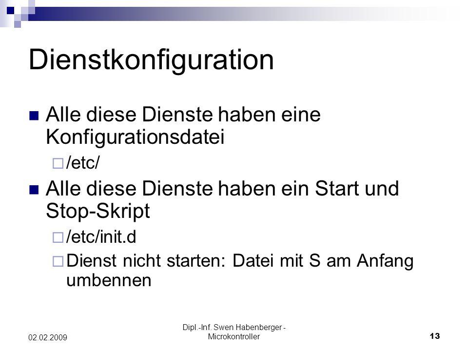 Dipl.-Inf. Swen Habenberger - Microkontroller13 02.02.2009 Dienstkonfiguration Alle diese Dienste haben eine Konfigurationsdatei /etc/ Alle diese Dien