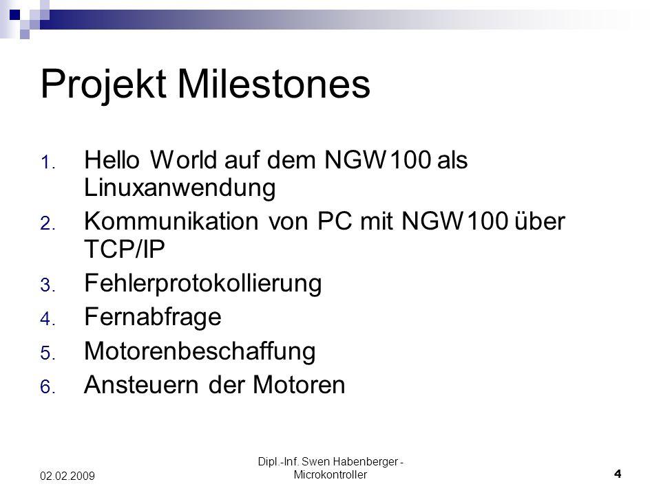 Dipl.-Inf. Swen Habenberger - Microkontroller4 02.02.2009 Projekt Milestones 1. Hello World auf dem NGW100 als Linuxanwendung 2. Kommunikation von PC